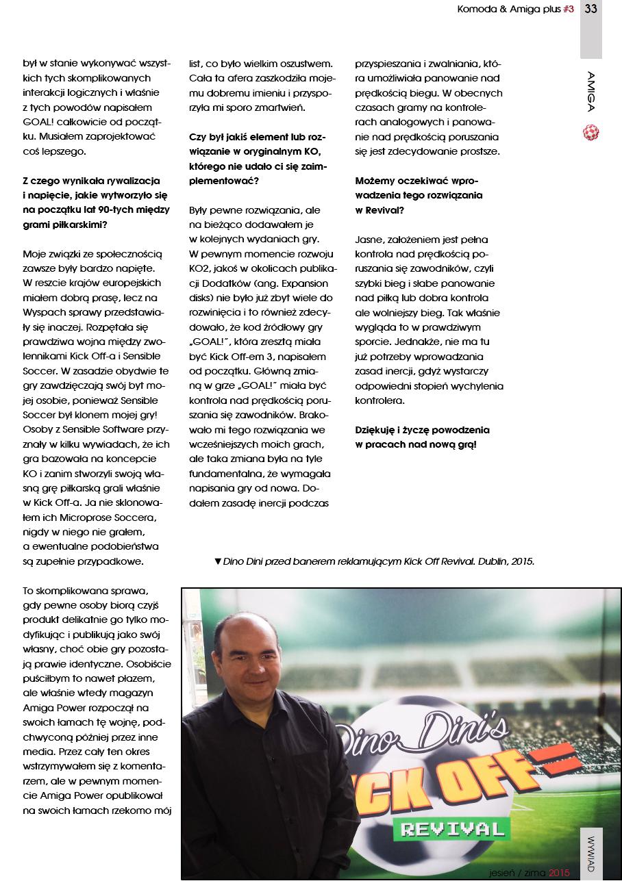 Dino Dini, twórca Kick Off-a, wywiad