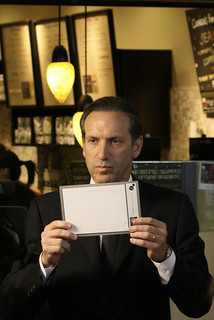 Starbucks Chairman Howard Schultz Holds Up White Balance Card | by sillygwailo