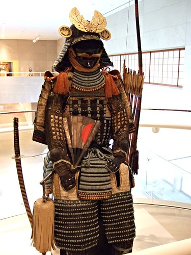 Suit of Armor flanked by sword and bow Japan Late Momoyama period-early Edo period early 17th century | by mharrsch