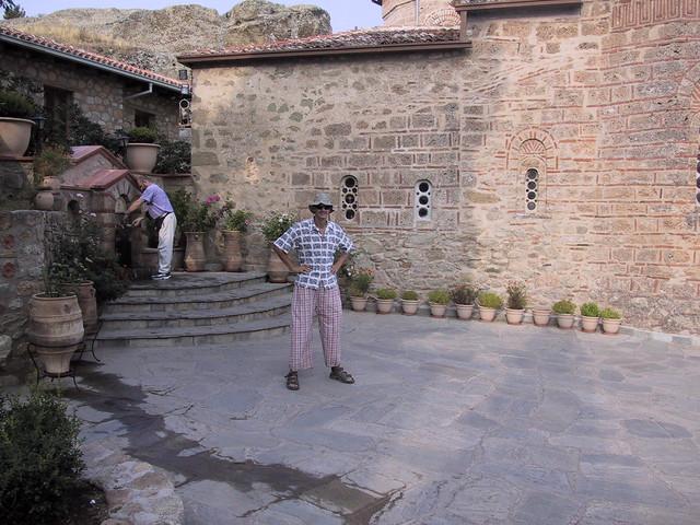 Hubbers dressed in funny pants, Meteora, Greece