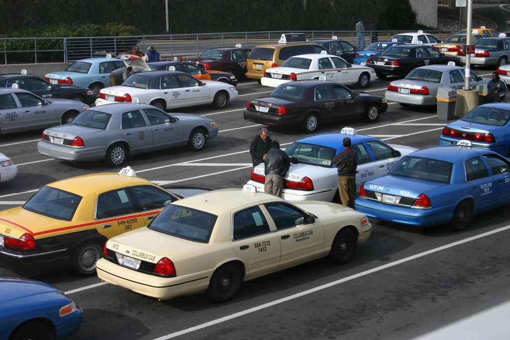 Cabs at the airport in DC. Photo: Elvert Barnes, CC.