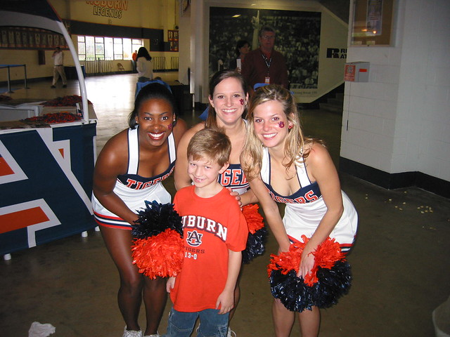 Birthday Boy with Auburn Cheerleaders