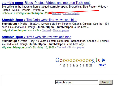 """Stumble Upon"" Search on Google 