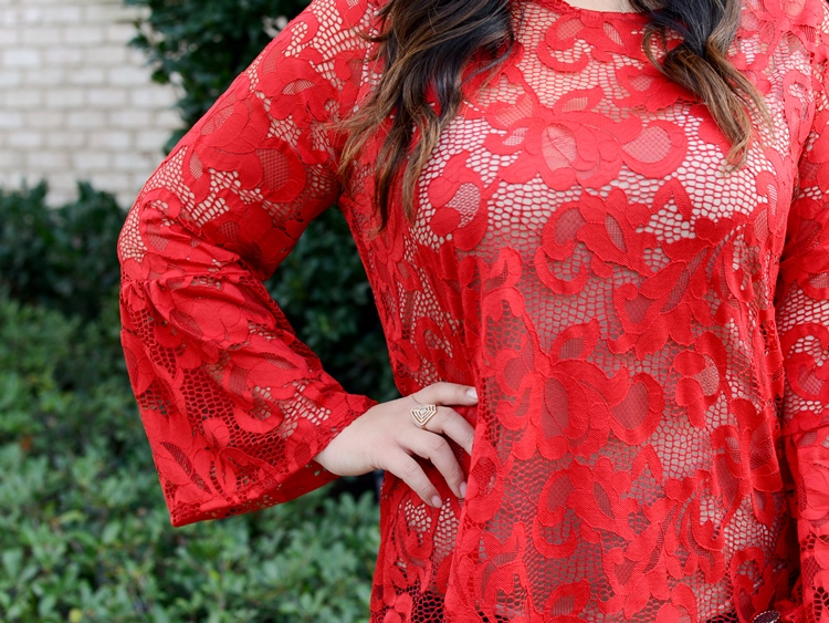 Macy's INC International Concepts Red Lace Top Plus Size Holiday Outfit Over the Knee Wide Calf Boots