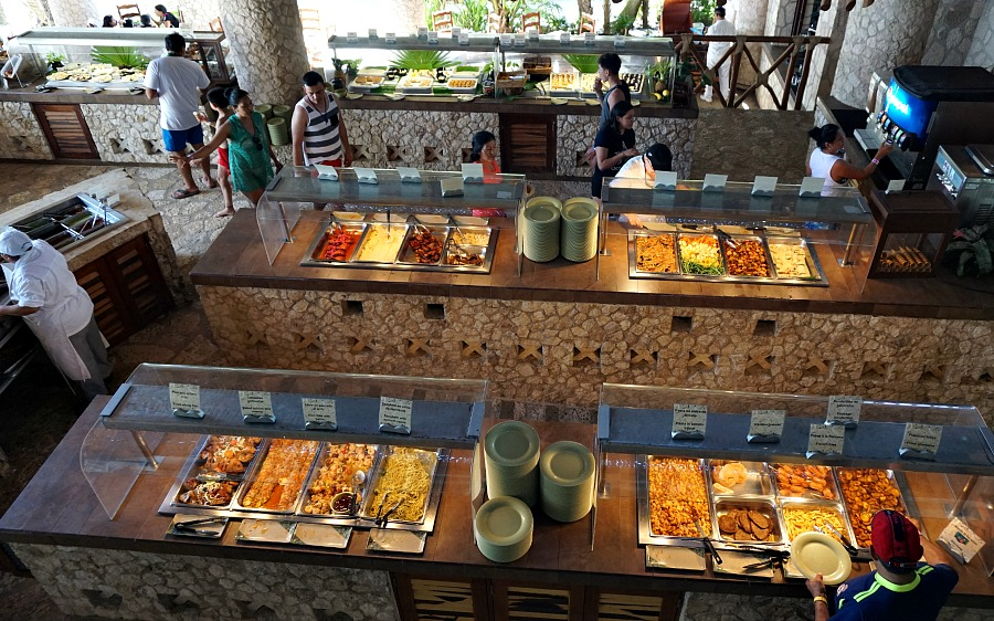 One of several buffets available at Xcaret