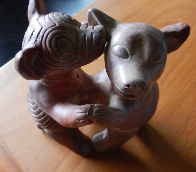 These dancing dogs are copies of the ceramic dogs found in the archeological excavations near Colima, Mexico
