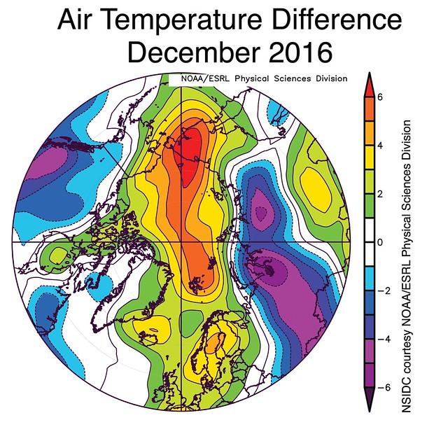 Arctic Temperatures Dec. 2016