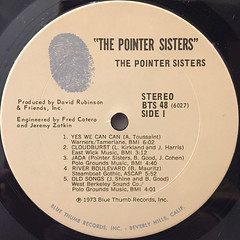 THE POINTER SISTERS:THE POINTER SISTERS(LABEL SIDE-A)