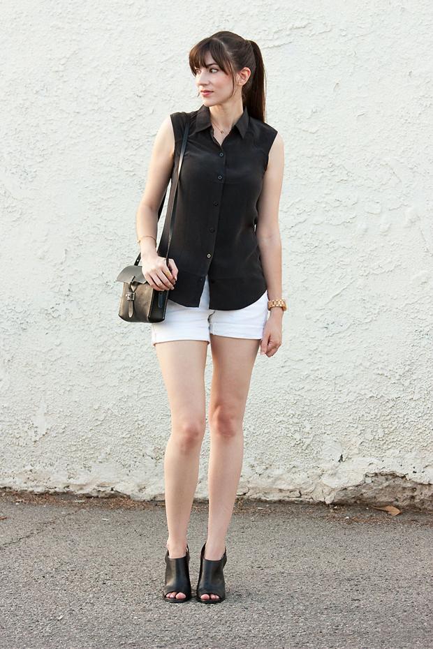 Everlane Sleeveless Silk Top, White Shorts