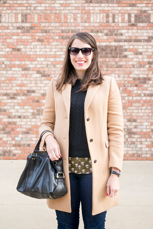 black sweater + green floral shirt + tan winter coat + black suede heel wedges | Style On Target blog
