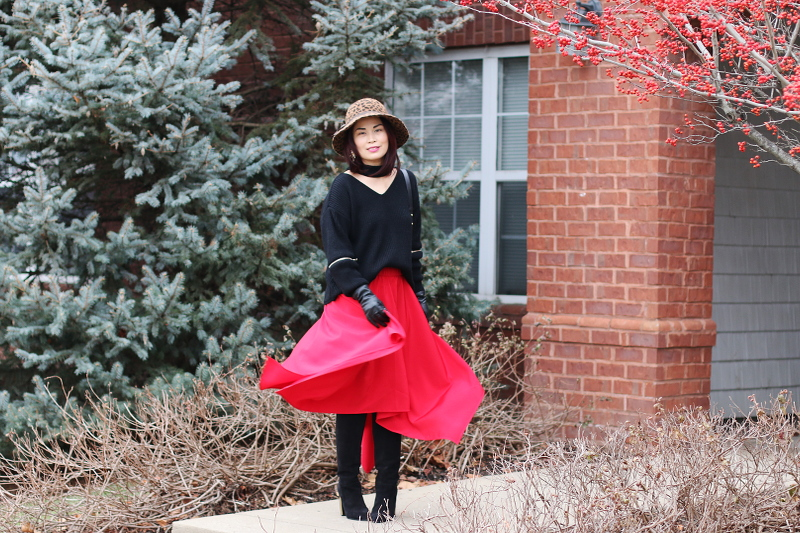 red-skirt-choker-sweater-suede-boots-hat-7