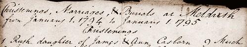 Ruth C birth Meldreth 1794