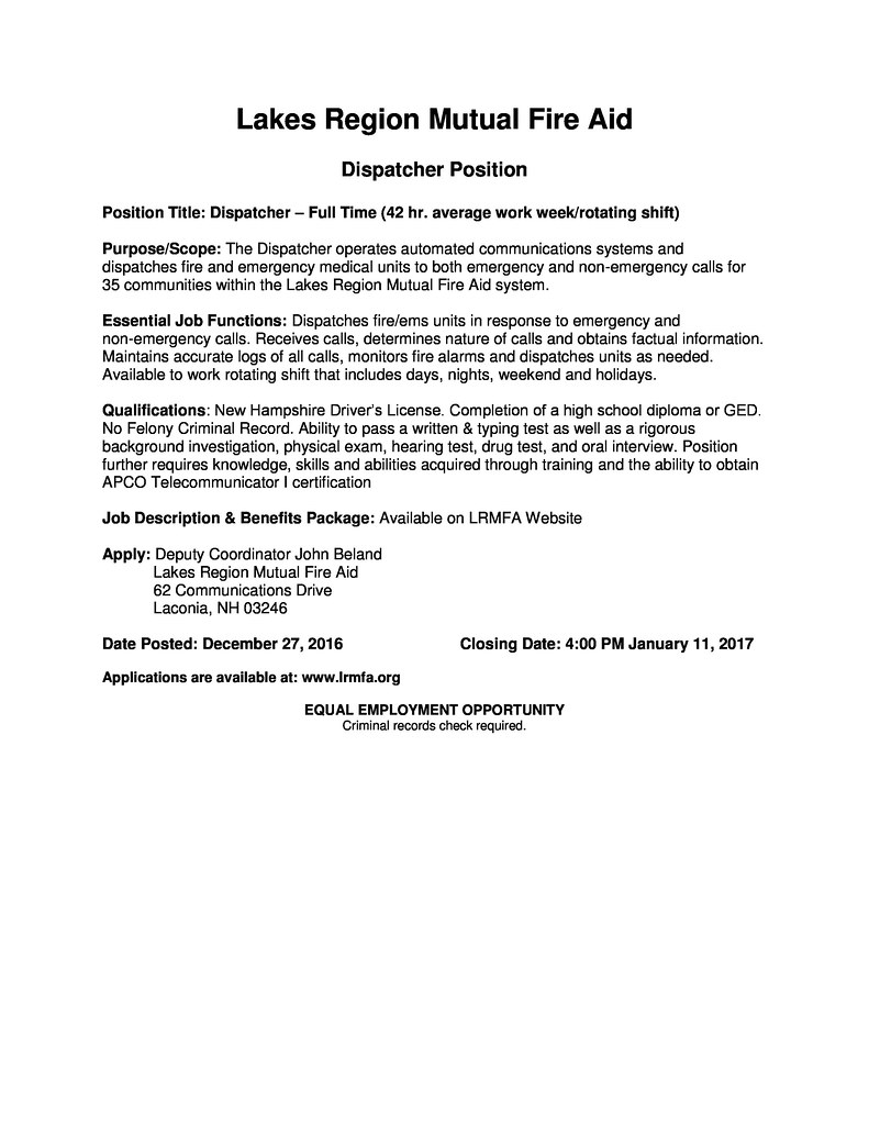 Lakes Region Dispatcher Job Posting-page-0