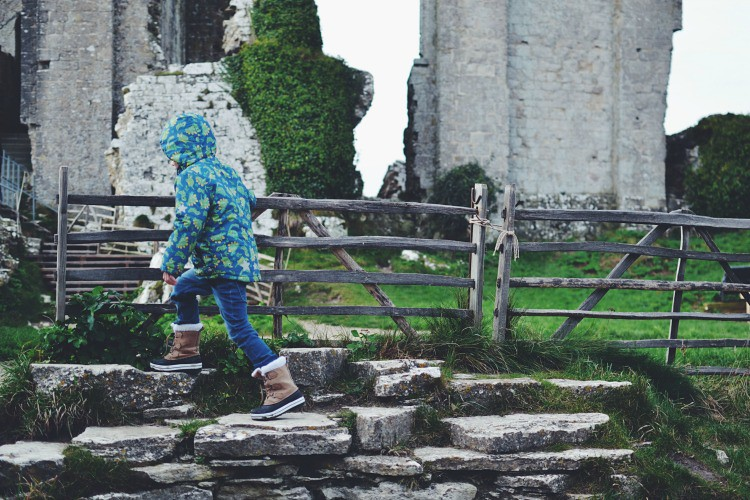 Climbing steps at Corfe Castle