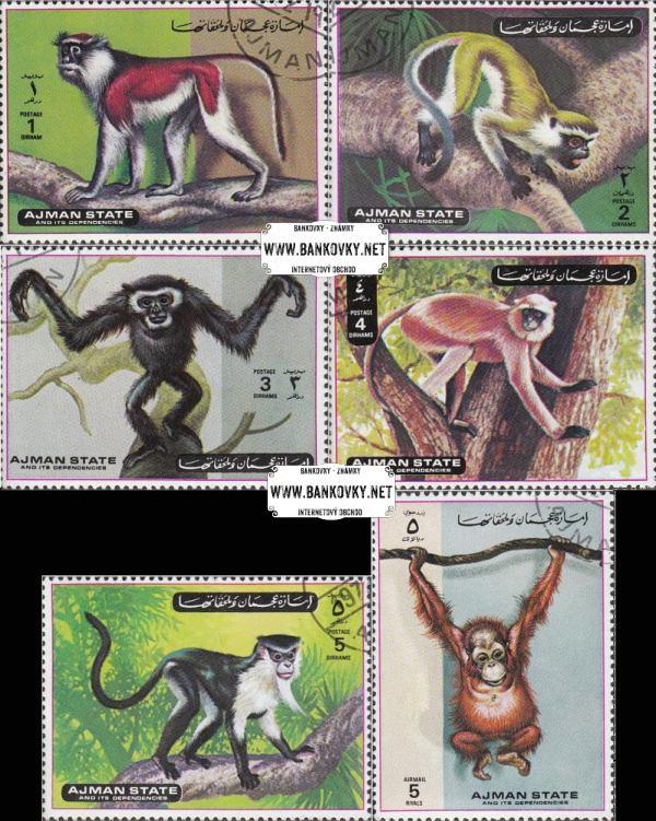Známky Ajman 1973 Opice, razítkovaná séria
