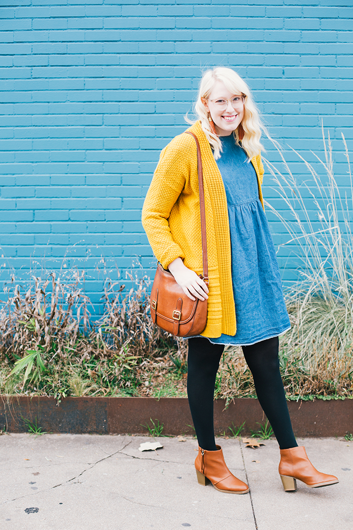 austin style blogger asos smock dress yellow sweater1
