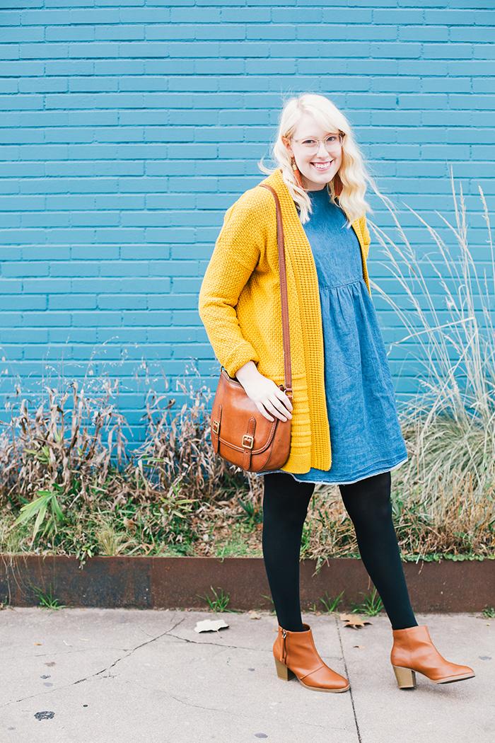 austin style blogger asos smock dress yellow sweater1