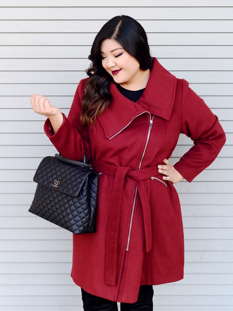 Curvy Girl Chic Ellos Moto Asymmetrical Burgundy Coat