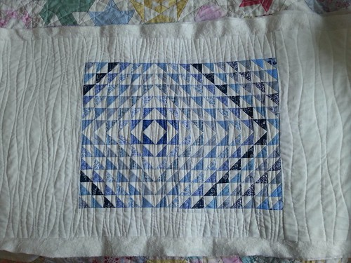 Blue and white hst cushion 1
