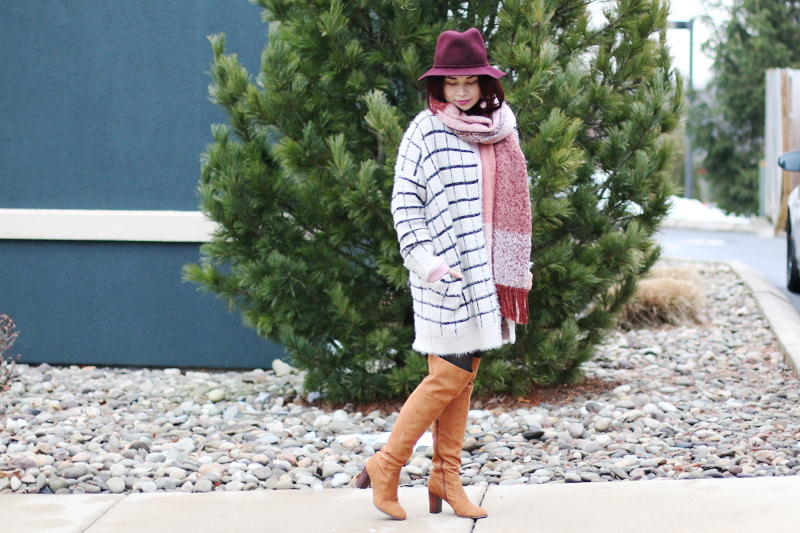 burgundy-hat-pink-scarf-window-pane-cardigan-otk-boots-3