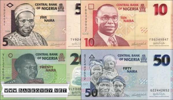 Sada 4 ks bankoviek Nigéria 5-50 Naira P32-35