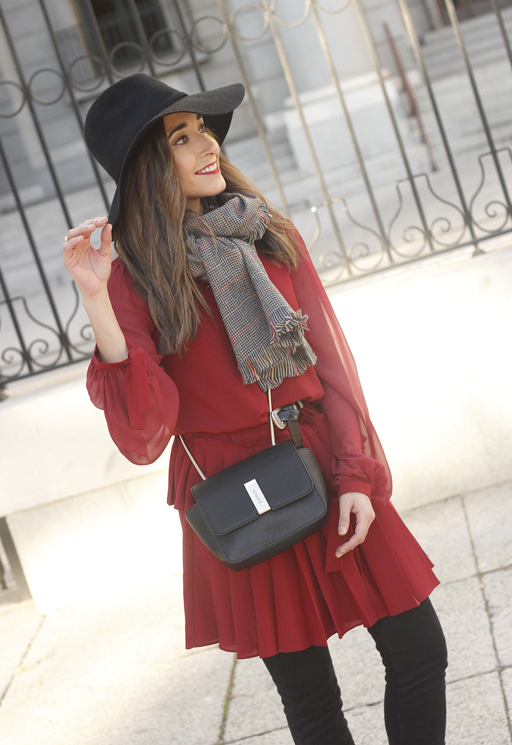 red dress black hat scarf over the knee boots Autumn essentials outfit style fashion fall03