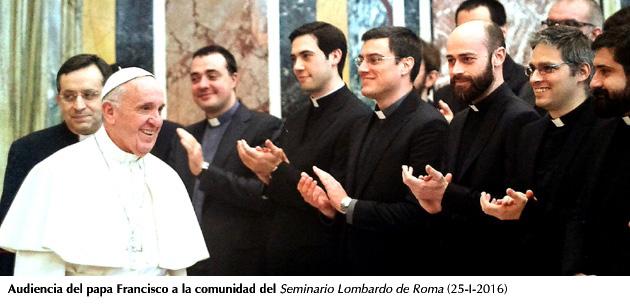 Papa Fco. recibe comunidad Seminario Lombardo de Roma