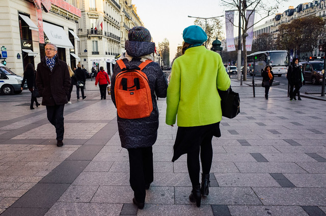Layering with style: Two lovely ladies at Champs-Élysées avenue