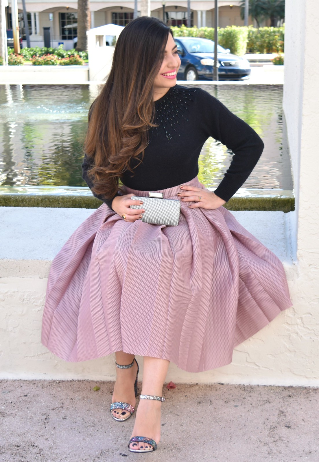 ROMWE Champagne High Waist Pleated Flare Skirt