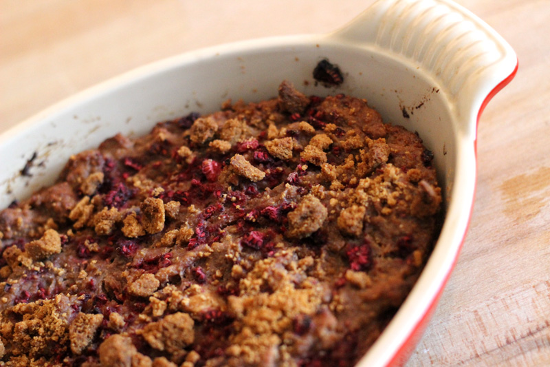 Speculoos and Raspberry Bread Pudding