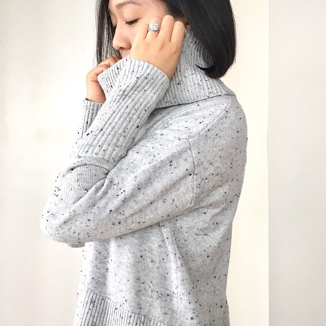 Lou & Grey Speckled Cowl Sweater, size XS regular