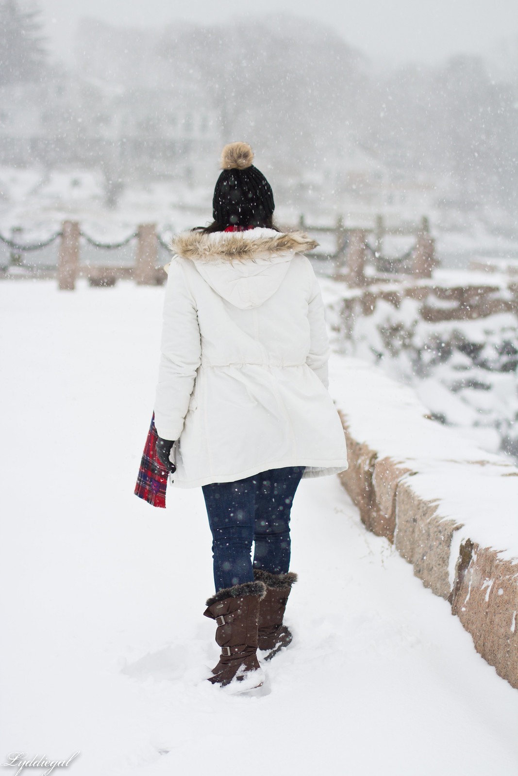 snow outfit, white parka, plaid scarf, pom hat-2.jpg