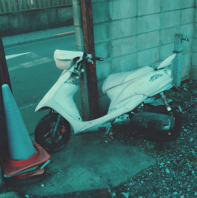 Broken-down scooter