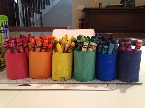 Toilet Paper Rolls = Crayon Holders