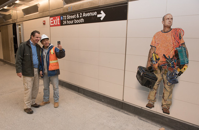 On a recent visit to the Second Ave. Subway, Gov. Andrew Cuomo stopped for a selfie with a member of the project's construction crew. (Via Gov. Cuomo on flickr)