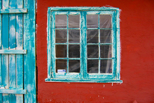 Turquoise Window, Red Wall | by jwoodphoto