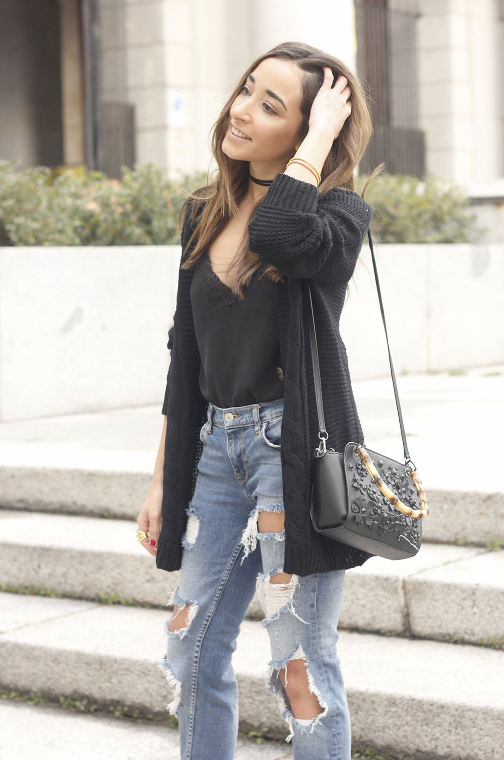black lace top ripped jeans black cardigan uterqüe bag accessories outfit style fashion heels18