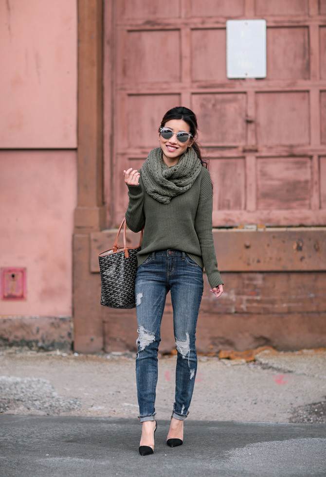 hunter green sweater winter style extra petite