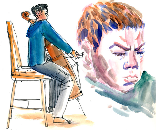 Sketchbook #100: Cello Practice