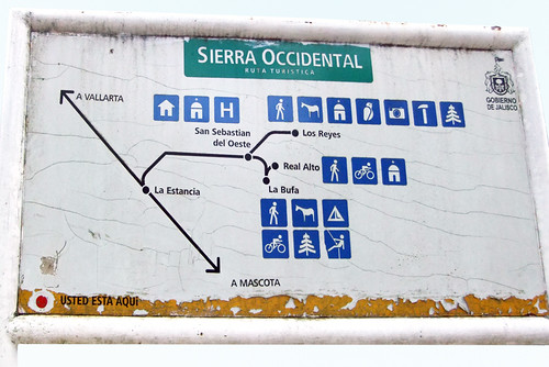 A sign showing the 'Ruta Turistica in San Sebastian, a Pueblo Magico in the state of Jalisco, Mexic