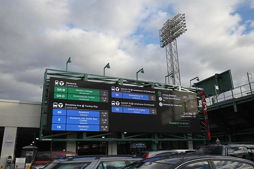 TransitScreen information displayed at Fenway Park, Boston