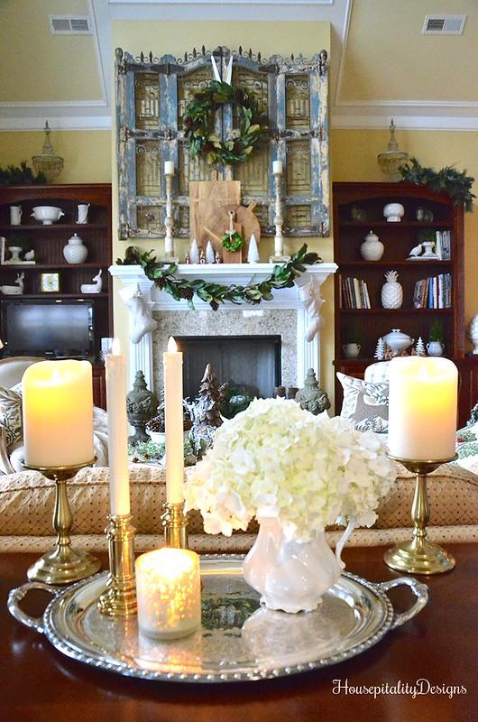 Luminara Candles-Silver Trophy Tray-Hydrangeas-Housepitality Designs