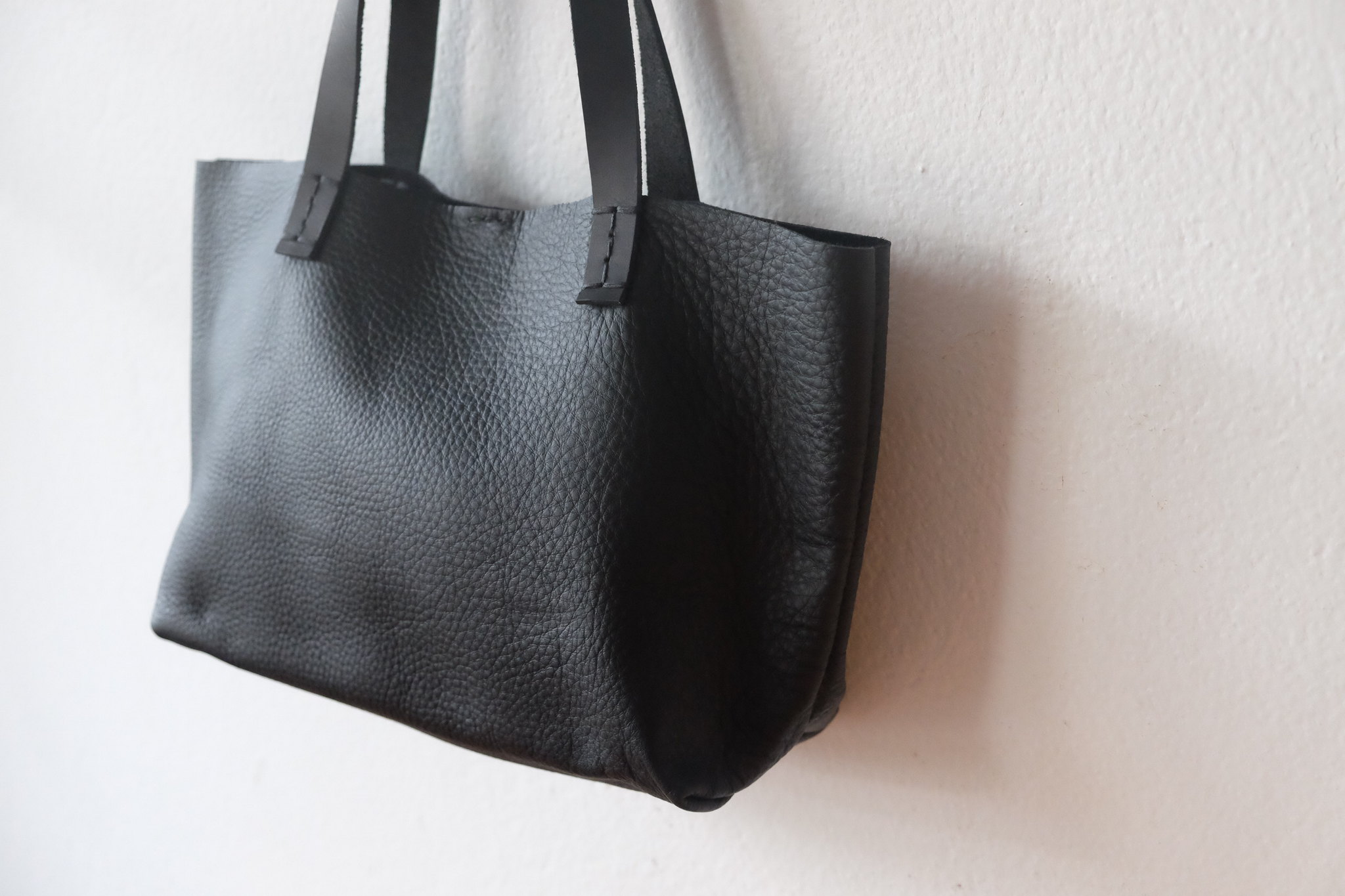 Mini Simple Leather Tote Bag I Small Black Leather Handbag I Lunch ... 387062262696