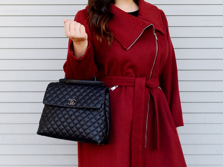 Curvy Girl Chic Ellos Coat Chanel Large Coco Handle