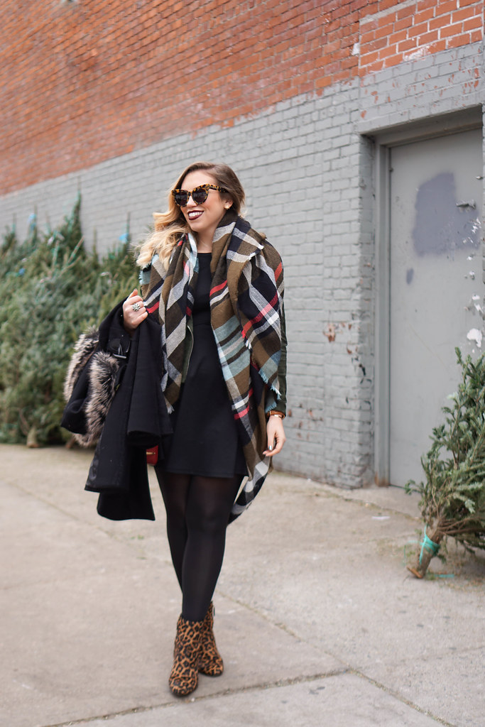 Green Plaid Scarf Blank NYC Suede Moto Jacket Sam Edelman Leopard Taye Booties | Christmas Tree Shopping in Brooklyn | Casual Holiday Outfit