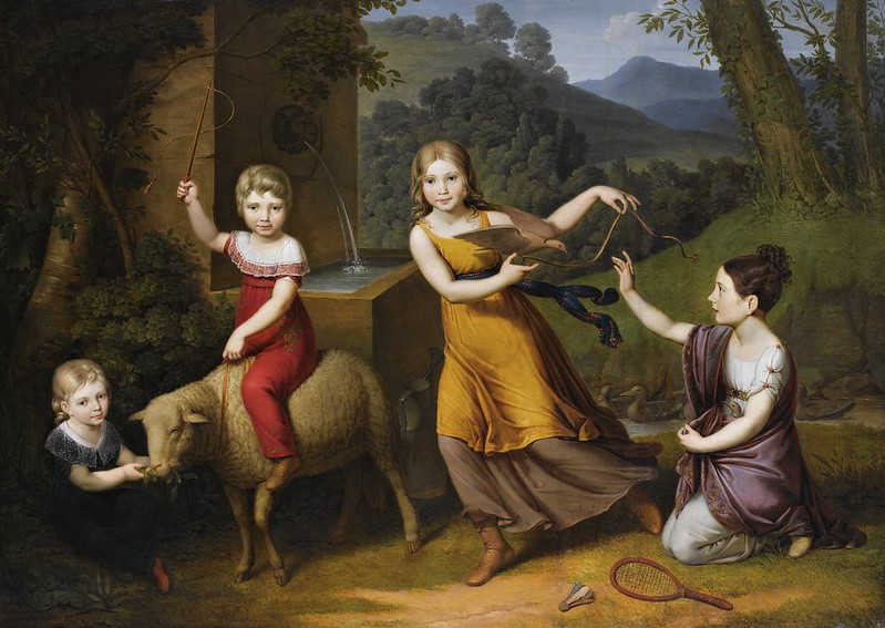 Anton Petter - Portrait of four children, full length, in a landscape, with a sheep and turtle doves