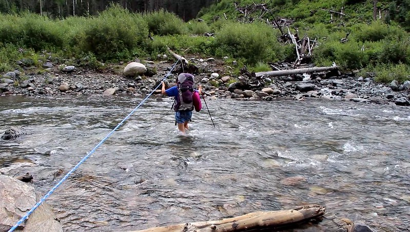Screenshot from the video of Vicki fording Vallecito Creek