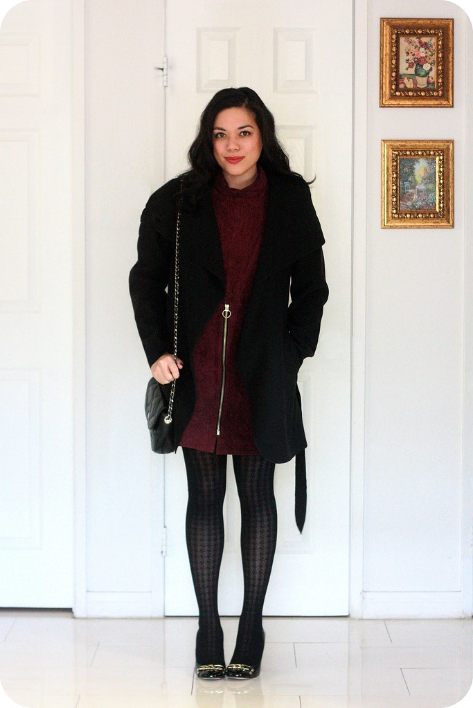 Sweets and Hearts Holiday Winter Party Style - Outfit featuring Forever 21 suede shift dress, houndstooth tights, Boohoo coat, vintage quilted bag, black patent pumps