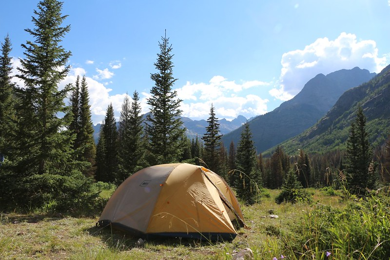 Beautiful view from our tent on the edge of the meadow near Rock Creek and Vallecito Creek