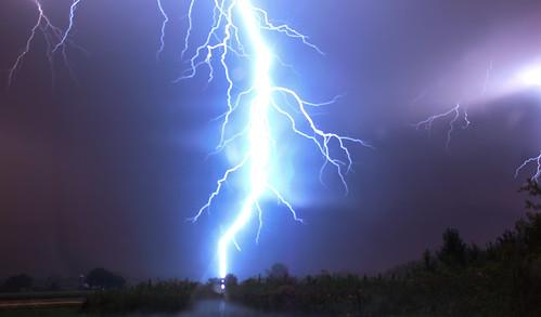 Very close lightning strike.